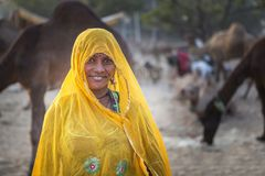 A tribal lady in pushkar camel fair Royalty Free Stock Photos