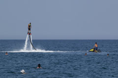 Unidentified Turkish man hovered above the water Stock Photo