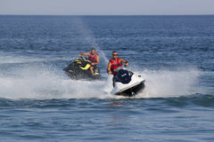 Unidentified Turkish men compete with each other on water scoote Royalty Free Stock Image