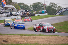 Unidentified various race cars Royalty Free Stock Photography