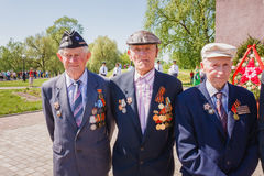 Unidentified veterans during the celebration of Victory Day. GOMEL, BELARUS - MAY 9: Unidentified veterans during the celebration stock photo