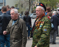 Unidentified veterans during festivities devoted to Victory Day. VLADIVOSTOK, RUSSIA - MAY 9, 2014: Unidentified veterans during festivities devoted to Victory Stock Photography