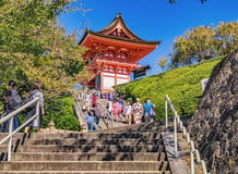 Unidentified visitors at Kiyomizu-dera Temple in Kyoto, Japan Stock Image