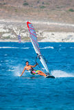 Unidentified of windsurfing sailor on training ses Royalty Free Stock Image