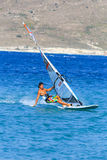 Unidentified of windsurfing sailor on training ses Royalty Free Stock Images