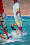 Unidentified of windsurfing sailor on training ses Royalty Free Stock Photos