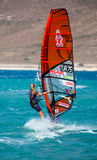 Unidentified of windsurfing sailor on training ses Royalty Free Stock Photography