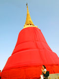 An unidentified woman make a wish at Wat Saket Royalty Free Stock Photo