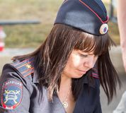Unidentified woman police officer from Russia in uniform. Samara, Russia - September 17, 2017: Unidentified woman police officer from Russia in uniform Stock Photos