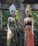 Unidentified woman with Thai dress at Phanomwan Historical Park Stock Image