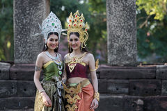 Unidentified woman with Thai dress at Phanomwan Historical Park Royalty Free Stock Image