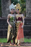 Unidentified woman with Thai dress at Phanomwan Historical Park Royalty Free Stock Images