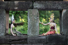 Unidentified woman with Thai dress at Phanomwan Historical Park Royalty Free Stock Photo