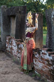 Unidentified woman with Thai dress at Phanomwan Historical Park Stock Photography