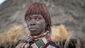 Unidentified woman from the tribe of Hamar in the Omo Valley of Ethiopia. Omo Valley, Ethiopia - September 2017: Unidentified woman from the tribe of Hamar in Stock Image