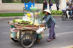 Unidentified woman vendor at the small marke Stock Photography