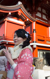 Unidentified woman wearing the Kimono in front of the Sensoji Te Royalty Free Stock Images