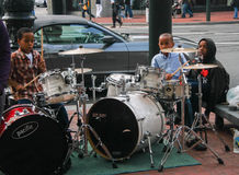 Unidentified Young Boys Play Drums On Downtown Street Royalty Free Stock Photo