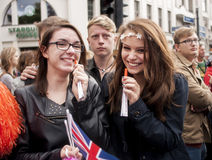 Unidentified young girls during Gay pride parade Royalty Free Stock Photos