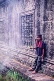 An unidentified young khmer soldier standby in Preah Vihear temple during the Cambodia-Thailand temple dispute royalty free stock images