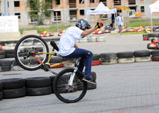 Unidentified young man rides his BMX Bik. E  at 3rd edition of MOTO SHOW in Krakow Royalty Free Stock Images