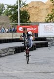 Unidentified young man rides his BMX Bik. E  at 3rd edition of MOTO SHOW in Krakow Stock Image