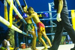 Unidentified young Muaythai fighters in ring during Stock Photo