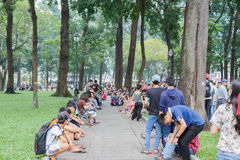Unidentified young people enjoying a park in saigon Royalty Free Stock Image