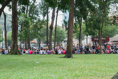 Unidentified young people enjoying a park in saigon Royalty Free Stock Photography