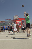 Unidentified young people play in streetball Royalty Free Stock Image