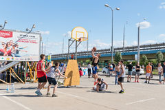 Unidentified young people play in streetball Stock Photo