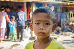 Unidentified young Thai boy pose with sadly face Royalty Free Stock Photos