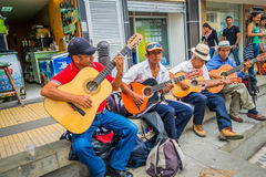 Unidentify indigenous men playing guitar in the Royalty Free Stock Photos