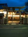 Unidentify jinja at kyoto, japan. Kyoto, Japan - June 27, 2014 : A small jinja at night in small village Stock Image