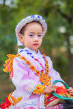 Unidentify Myanmar child in Festival Procession. Royalty Free Stock Images