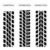 Unidireccional assimétrico simétrico do pneumático Foto de Stock