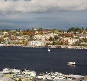 Unie de van de binnenstad van het het zuidenmeer van Seattle, vliegtuig royalty-vrije stock afbeeldingen