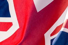 Unie Dichte Omhooggaand van Jack Waving Flag L Royalty-vrije Stock Foto's
