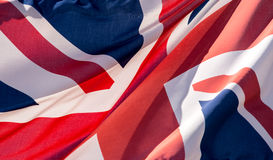 Unie Jack Waving Flag Dichte Omhooggaand Royalty-vrije Stock Afbeelding