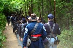 Unie troepen op maart Stock Foto