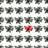 Uniek en verschillend concept met vliegtuigen van de beeldverhaal retro vechter stock illustratie