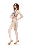 Uniek. Glamour. Modieuze Slanke Brunette in Glazen. Bruine Kleding & Schoenen Royalty-vrije Stock Foto