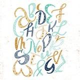 Uniek hand getrokken Latijns alfabet met krabbelornament Leuke grappige doopvont in bohostijl ABC-brieven vierkante affiche Royalty-vrije Stock Afbeeldingen