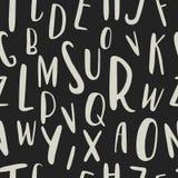 Uniek hand getrokken Latijns alfabet naadloos patroon Leuke verschillende met de hand getrokken de groottebrieven van ABC Stock Afbeelding