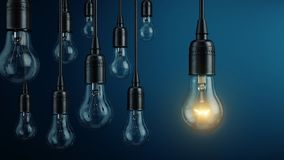 Uniek, leiding, nieuw ideeconcept - Één gloeilampenlamp gloeien verschillend en het duidelijk uitkomen van andere gloeilampenlamp stock illustratie