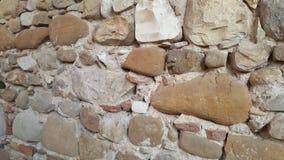 Unieke architectonische uitstekende muur van bakstenen in een kasteel Toscanië Italië stock afbeelding