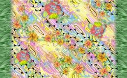 Unieke bloem met kleurrijke digitale achtergrond stock illustratie