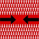 Unieke buigende zwarte pijl een andere richting en vele witte rechte degenen op rode achtergrond stock illustratie