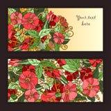 Unieke die patroonkaart met kunstbloemen wordt geplaatst. Stock Afbeeldingen