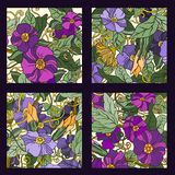 Unieke die patroonkaart met kunstbloemen wordt geplaatst. Royalty-vrije Stock Afbeeldingen